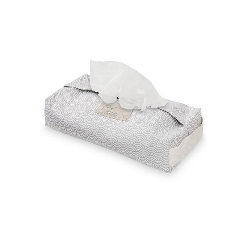 CamCam Etui à lingettes Grey Wave Gris 100% Coton Biologique